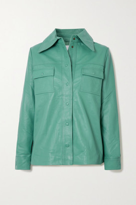 REMAIN Birger Christensen Rosalee Leather Shirt - Turquoise