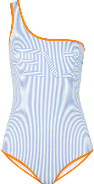 Fendi One-shoulder Printed Swimsuit - Blue