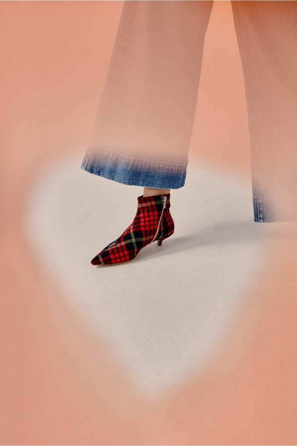 Jaggar The Label RISE PLAID KITTEN HEEL BOOT rose