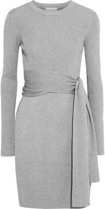 3.1 Phillip Lim Belted Metallic Ribbed-knit Mini Dress