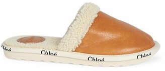 Woody Shearling-Lined Leather Slippers