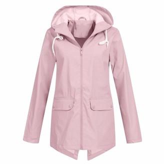 Rikay Women Coat Rikay Autumn Winter Womens Casual Daily Raincoats Women Solid Rain Jacket Outdoor Waterproof Hooded Windproof Size S-5XL Gray