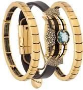 Camila Klein leather trim three-bracelet set
