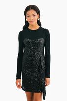 Nicole Miller Black Sequin Combo Dress