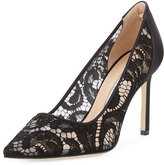 Manolo Blahnik BB Lace 90mm Pointed-Toe Pump, Black