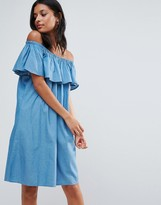 B.young Chambray Off Shoulder Frill Shift Dress