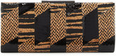 Badgley Mischka Brittany Snake-Embossed Leather Evening Clutch Bag, Black/Tan