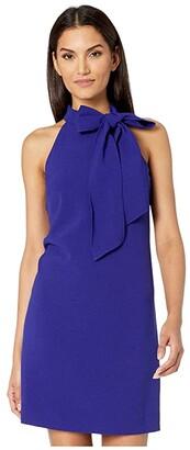 Vince Camuto Kors Crepe Bow Neck Shift (Cobalt) Women's Clothing