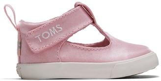 Toms Pink Shiny Glitz Baby Joon Flats