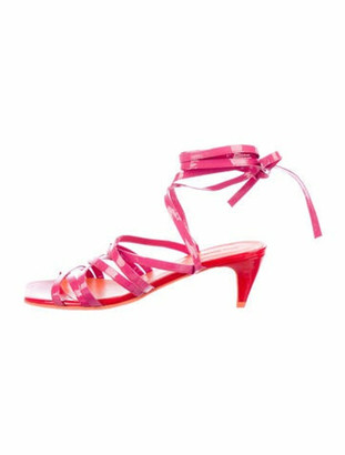 Molly Goddard Tina Patent Leather Gladiator Sandals Pink