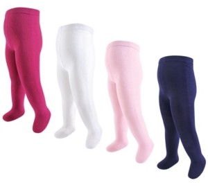 Touched by Nature Baby Girls Organic Cotton Tights, 4-Pack