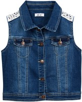 Dex Lace Yoke Denim Vest (Big Girls)
