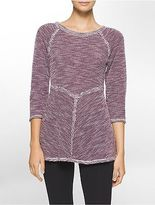 Calvin Klein Womens Performance Marled 3/4 Sleeve Top