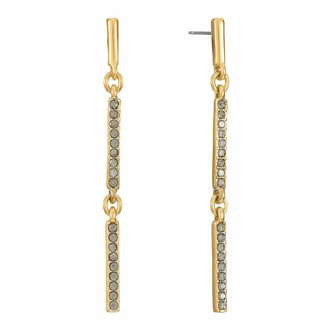 Chaps Women's Linear Drop Post Earrings Gold Plated and Hematite