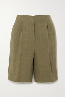 LOULOU STUDIO Bermuda Pleated Linen Shorts - Green