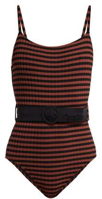 Solid & Striped The Nina Belted Swimsuit - Womens - Black Red