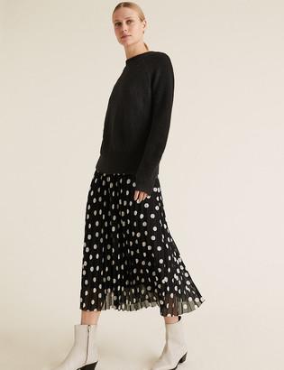Marks and Spencer Polka Dot Pleated Midi Skirt