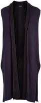 August Silk Navy & Black Double-Face Long Vest