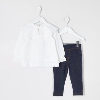 River Island Mini girls White broderie frill top outfit
