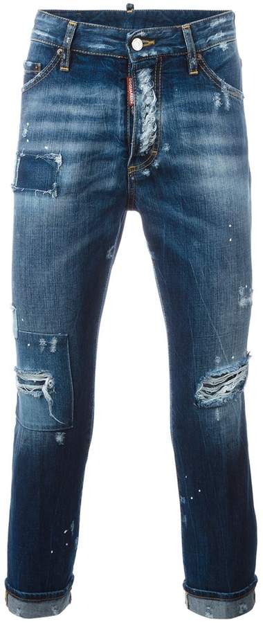 DSQUARED2 Glam Head distressed patchwork jeans