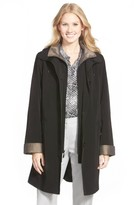 Gallery Petite Women's Two Tone Long Silk Look Raincoat