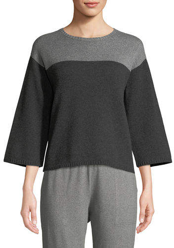 Eileen Fisher Lofty Cashmere Colorblock Box Sweater
