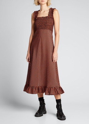 Ganni Seersucker Check Flounce Midi Dress