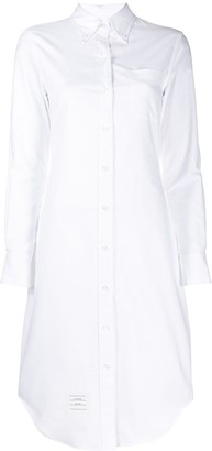 Thom Browne Long Sleeve Button Down Knee Length Shirtdress