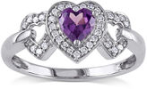 JCPenney FINE JEWELRY Lab-Created Alexandrite and Diamond-Accent 10K White Gold Triple-Heart Ring