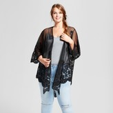 Xhilaration Women's Plus Size Lace Kimono Black