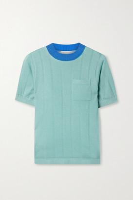 Lee Mathews Ribbed Tencel Sweater - Sky blue