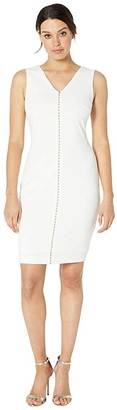 Calvin Klein V-Neck Pearl Front Sheath (Soft White) Women's Clothing