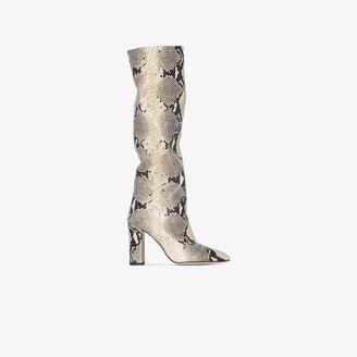 Paris Texas Neutral 100 Snake Print Leather Boots