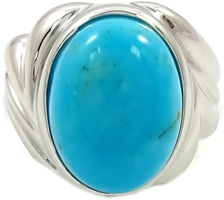 Savvy Cie Rhodium Plated Sterling Silver Turquoise Ring