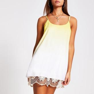 River Island Yellow ombre crochet mini beach dress
