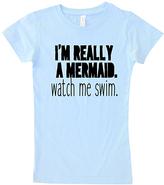 Micro Me Ice Blue 'Watch Me Swim' Crewneck Tee - Toddler & Girls