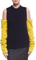 Calvin Klein Cold-Shoulder Ribbed Wool Sweater
