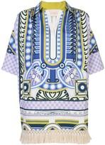 La DoubleJ fringed-hem tunic dress