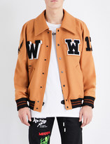 Off-White Embroidered stretch-cotton varsity jacket