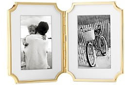 Kate Spade Sullivan Street Gold Hinged Double Frame, 4 x 6