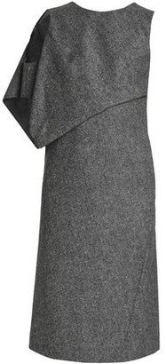 Maison Margiela Cold-shoulder Draped Wool-tweed Dress