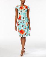 Connected Ronni Nicole Cap-Sleeve Floral-Print Sheath Dress