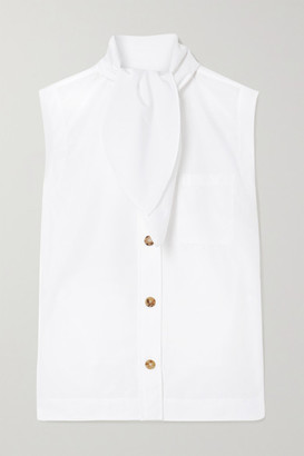 Chloé Tie-detailed Cotton-poplin Blouse - White