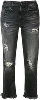 R 13 cropped jeans - women - Cotton/Elastodiene - 24