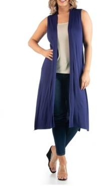 24seven Comfort Apparel Women's Plus Size Long Cardigan Vest