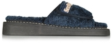 See by Chloe Sugar Blue Signature Fabric Flat Slide