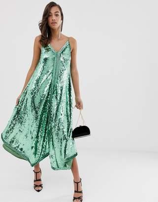 Asos Edition EDITION cami sequin trapeze midi dress-Green