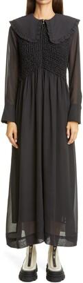 Ganni Smocked Bodice Long Sleeve Chiffon Dress