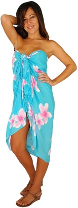 1worldsarong 1 World Sarongs Womens Plumeria Swimsuit Cover-Up Sarong in Light Turquoise/Pink