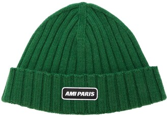 Ami Ribbed Beanie With Paris Patch